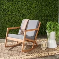 Safavieh Vernon All Weather Wood Rocking Chair in Teak Brown/Grey