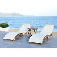 Safavieh Pacifica 3-Piece Outdoor Lounge Set in Teak Brown/Beige