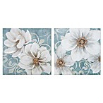 Damask Blossoms Floral Canvas Wall Art in Blue/White (Set of 2)