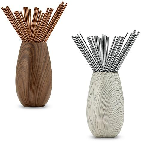 Joy Mangano Forever Fragrant 20 Count Sticks With Ceramic Wood Vase