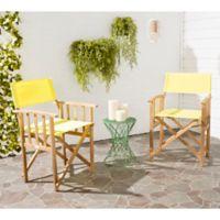 Safavieh Laguna Outdoor Director Chairs in Teak/Yellow (Set of 2)