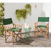 Safavieh Laguna Outdoor Director Chairs in Teak/Green (Set of 2)