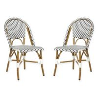 Safavieh Salcha Indoor/Outdoor Stackable Side Chairs in Black/White (Set of 2)