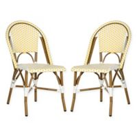 Safavieh Salcha Indoor/Outdoor Stackable Side Chair in Yellow/White (Set of 2)