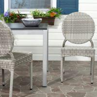 Safavieh Valdez Indoor/Outdoor Stackable Side Chair in Grey (Set of 2)