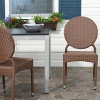Safavieh Valdez Indoor/Outdoor Stackable Side Chair in Brown (Set of 2)