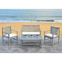 Safavieh Burbank 4-Piece Outdoor Conversation Set in Grey Wash/Beige