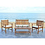 Safavieh Burbank 4-Piece Outdoor Conversation Set in Teak/Beige