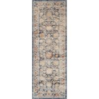 Magnolia Home by Joanna Gaines Trinity Floral Border 2-Foot 8-Inch x 7-Foot 6-Inch Runner in Navy