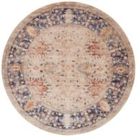 Magnolia Home by Joanna Gaines Trinity Floral 9-Foot 6-Inch Round Area Rug in Sand/Blue