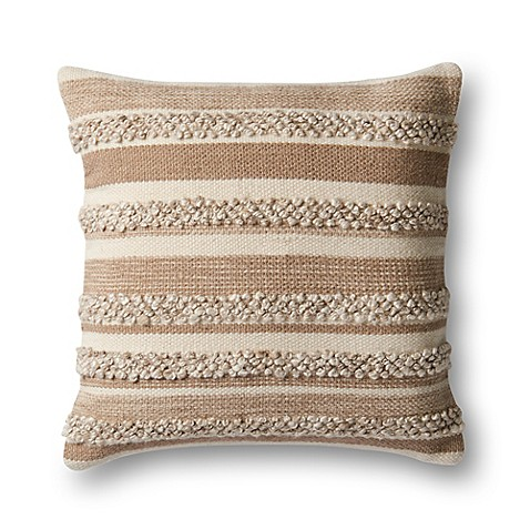 Magnolia home by joanna gaines zander square throw pillow in beige ivory bed bath beyond - Magnolia bedding joanna gaines ...