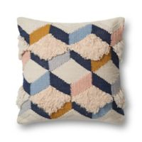 Magnolia Home by Joanna Gaines Brant Square Throw Pillow in Navy/Pink
