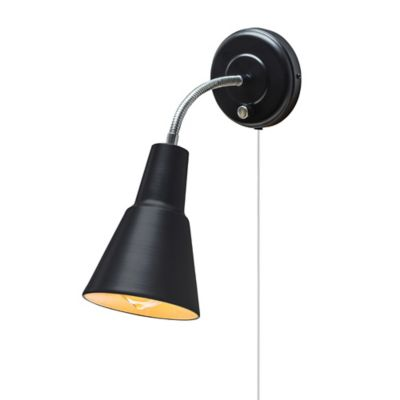 Globe Electric Ramezay 1 Light Plug In Hardwire Wall Sconce Black