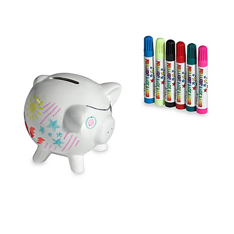 Decorate your own art piggy bank with markers bed bath for Make your own piggy bank