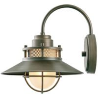 Globe Electric Liam Outdoor Wall-Mount Scone in Bronze with Frosted Glass Shade