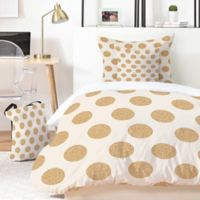 Deny Designs Allyson Johnson Gold Dots King Duvet Cover Set