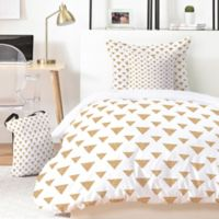Deny Designs Allyson Johnson Glitter Triangles King Duvet Cover Set in Gold