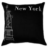 Passport Postcard New York City Square Throw Pillow in Black/White