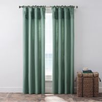 Coastal Life Havana 84-Inch Tie Top Window Curtain Panel Pair in Green