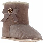 Michael Kors Newborn Velvet Fur-Trimmed Boot in Blush