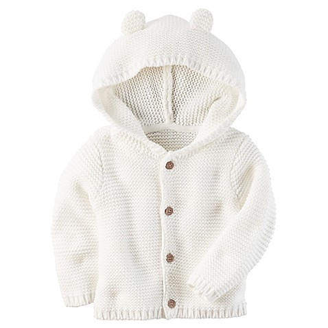 carter's® Button-Front Sweater Jacket with Hood | Tuggl