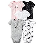 carter's® Newborn 5-Pack  Snuggle  Short Sleeve Bodysuits in Grey/Pink