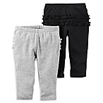 carter's® Size 3M 2-Pack Ruffled Pant in Black/Grey