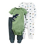 carter's® Size 3M 3-Piece Babysoft Dino Footed Pant Set in Green