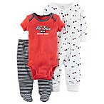 carter's® Size 3M 3-Piece Babysoft  All Star  Footed Pant Set in Red