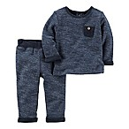 carter's® Size 3M 2-Piece French Terry Shirt and Pant Set in Navy