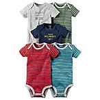 carter's® Size 18M 5-Pack Striped Short-Sleeve Bodysuits in Blue