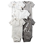 carter's® Size 3M 5-Pack Short-Sleeve Bodysuits in Grey