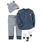 carter's® Size 3M 4-Piece Babysoft Thermal Shirt, Pant, Hat, and Socks Set in Navy