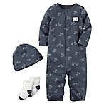 carter's® Preemie 3-Piece Dogs Converter Gown, Cap, and Socks Set in Navy