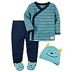 carter's® Preemie 3-Piece Monster Side-Snap T-Shirt, Pant, and Hat Set in Blue