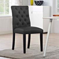 Modway Duchess Vinyl Dining Side Chair in Black