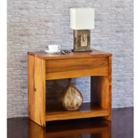 Cayu Live Edge Nightstand in Brown