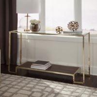 Tempered Glass Console Table in Brushed Brass