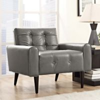 Modway Delve Vinyl Accent Chair in Grey