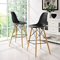 Modway Pyramid Dining Side Bar Stools in Black (Set of 2)