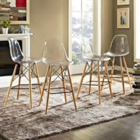 Modway Pyramid Dining Side Bar Stools in Clear (Set of 4)