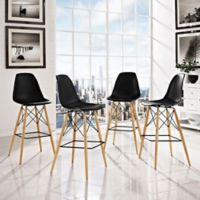 Modway Pyramid Dining Side Bar Stools in Black (Set of 4)