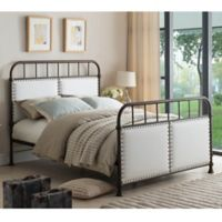 K&B Furniture BD7314 Queen Metal Bed in Pewter/Off White