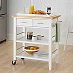 Trinity Wood Kitchen Cart with Drawers and Tray in White