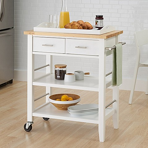 trinity wood kitchen cart with drawers and tray in white bed bath beyond. Black Bedroom Furniture Sets. Home Design Ideas