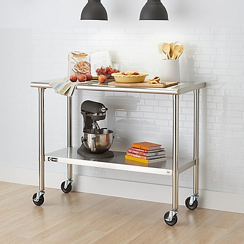 Trinity EcoStorage™ 48 Inch NSF Table With Wheels In Stainless Steel