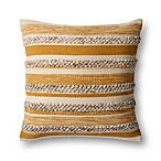 Magnolia Home By Joanna Gaines Zander Square Throw Pillow in Gold/Ivory