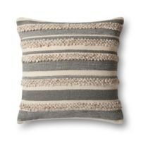 Magnolia Home By Joanna Gaines Zander Square Throw Pillow in Grey/Ivory