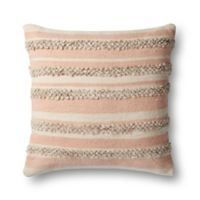 Magnolia Home By Joanna Gaines Zander Square Throw Pillow in Pink/Ivory