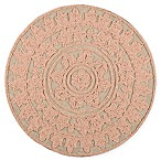 Semi-Beaded Jute Round Placemat in Coral